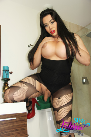 Busty BBW Shemale with Big Legs in Pantyhose